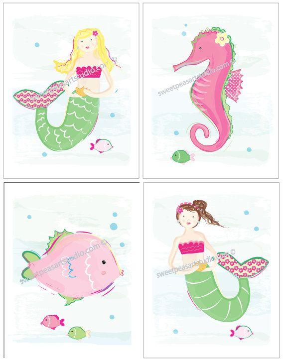 Mermaid Seahorse Ocean Sea Life Art Prints for Kids Beach Bath or Bedding Decor. $21.99, via Etsy.