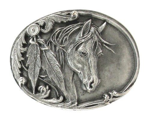 Belt Buckle - Horse Head and Feather - Belt Buckle