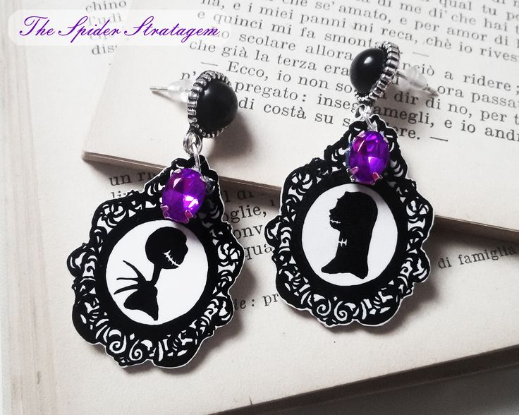 Gothic earrings 'Jack and Sally',latest 2 pairs available! - Grab yours at https://www.etsy.com/listing/207700508/gothic-victorian-earrings-jack-and-sally