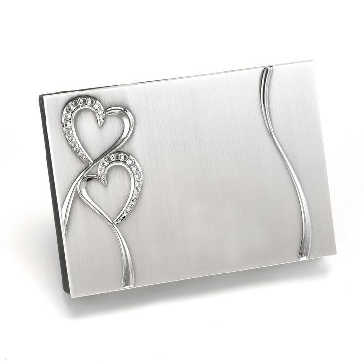 Rhinestone Hearts Wedding Ceremony Guest Book