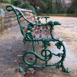 Art-Nouveau style bench in Avenham park, Preston UK by THELMA TOFANI