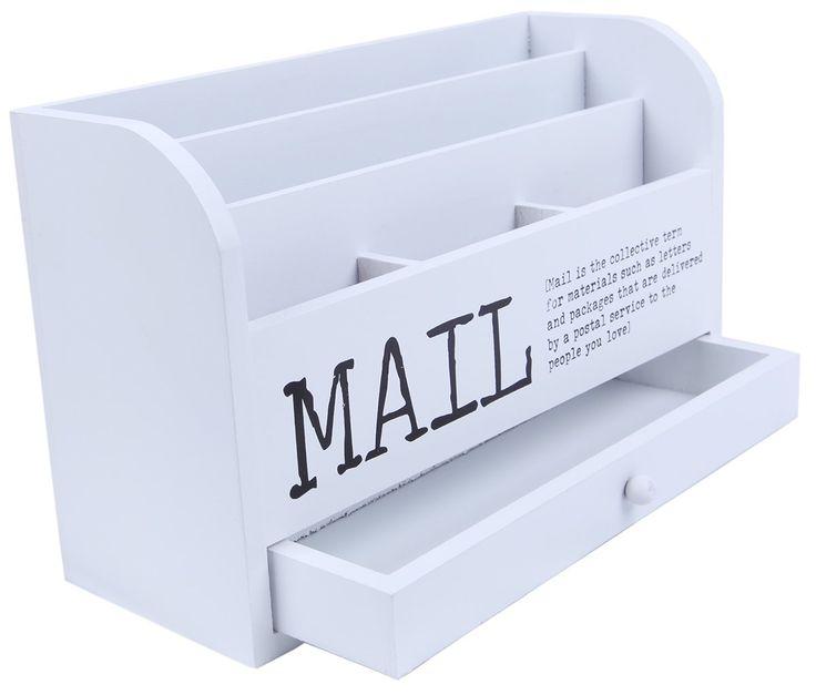 Mail Organizer 3 Tiered White Letter File Wooden Desk
