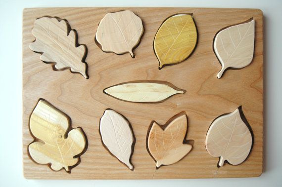 Wooden Puzzle Leafs/ Montessori Toy /Organic Toy/ Educational Toy/ Toddler Development Wood Toy/ Natural Wood Baby Toy