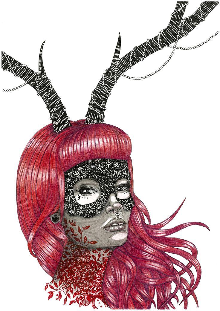 Lady red. Masks series https://www.behance.net/eivanafer51df