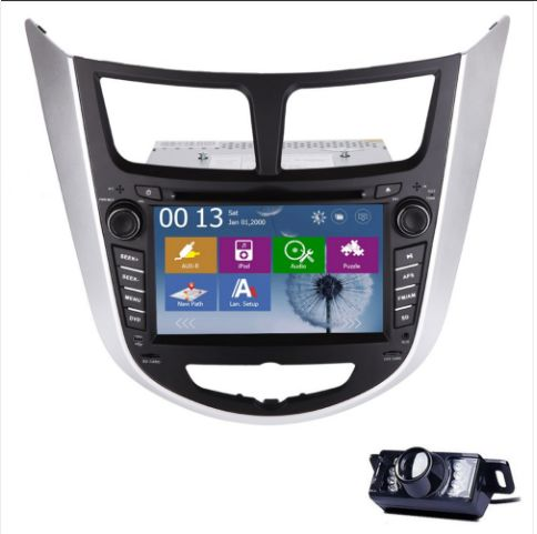 Free Backup Camera+Hot Sale EinCar Brand Double 2 Din GPS Car DVD CD Player Navigation System Special for HYUNDAI VERNA 7 inch Car Stereo Audio Player Support FM/AM RDS Radio+iPod+Bluetooth Car Videos+Steer Wheel Control