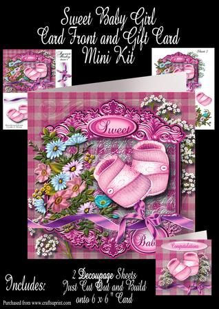 Sweet Baby Girl plus Gift Card on Craftsuprint - Add To Basket!