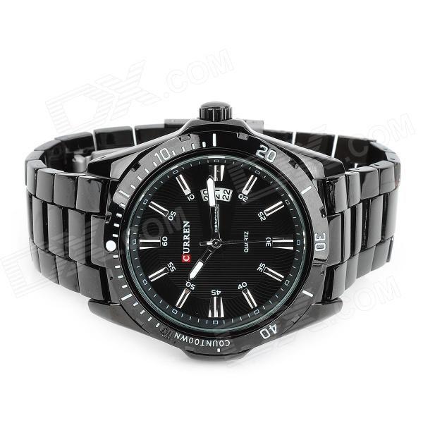 CURREN 8110 Men's Steel Band Quartz Wrist Watch w/ Calendar - Black