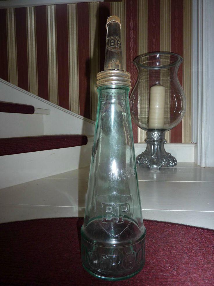 BP Energol Ölflasche , 1 Liter, 50er Jahre, Glasflasche, Tankstelle