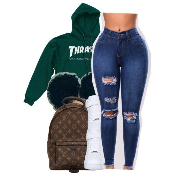 Lame n!ggaz[Asian Doll] by maiyaxbabyyy on Polyvore featuring polyvore, fashion, style, NIKE, Louis Vuitton and clothing