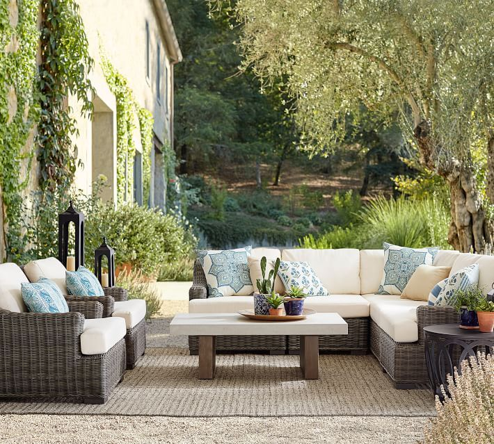 Outdoor Belinda Floral Print Pillow Pottery Barn Best Outdoor Furniture Wicker Patio Furniture Patio Furniture Sets