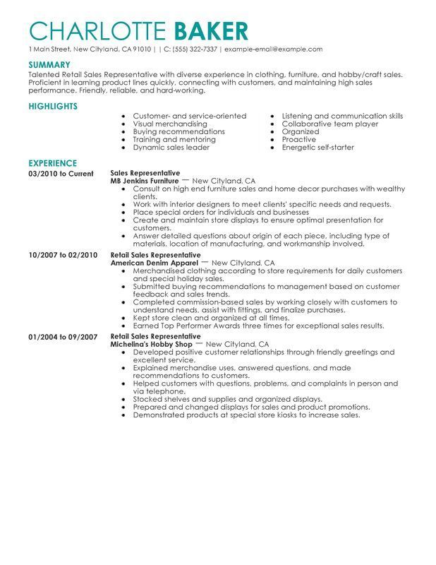 Resume Examples For Retail | Sales resume examples, Job ...