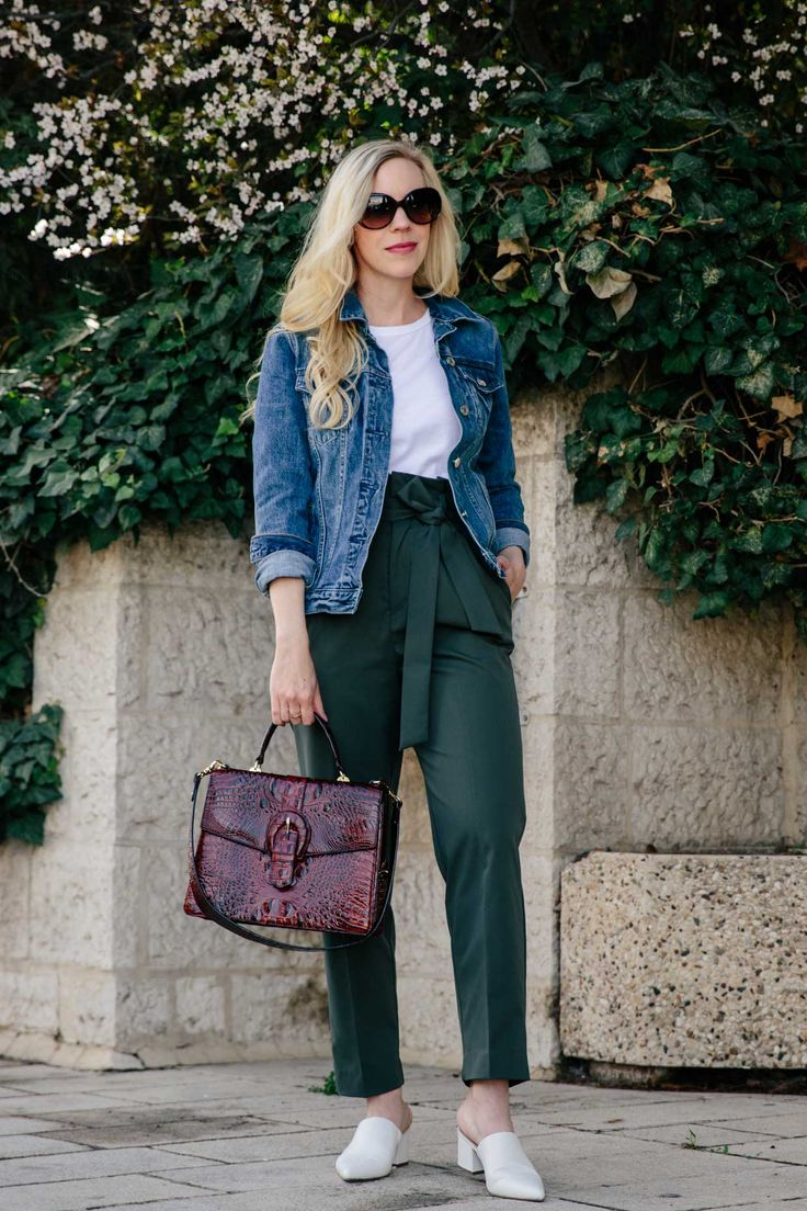 Spring outfit with denim jacket, olive paperbag waist pants and white mules, how to wear paperbag waist pants