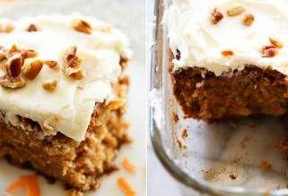 Jemný mrkvový dort s vanilkovým krémem a vlašskými ořechy