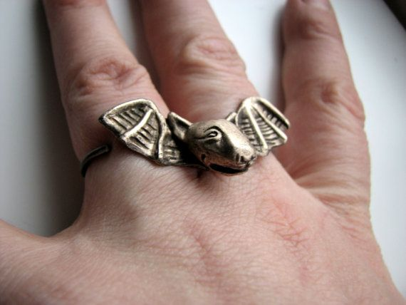 Bat dog bull terrier two finger ring by AnnaSiivonen on Etsy, $45.00