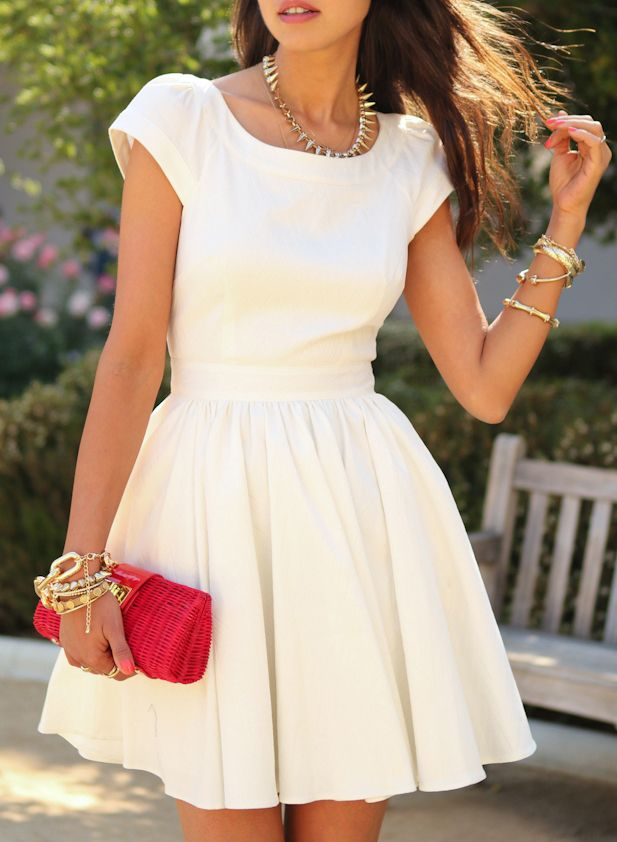 White Short Sleeve Open Back Flare Dress