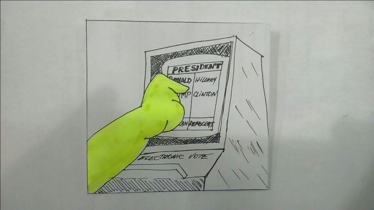 Homero votando en cabina electrónica, yo creo que votó por Trump