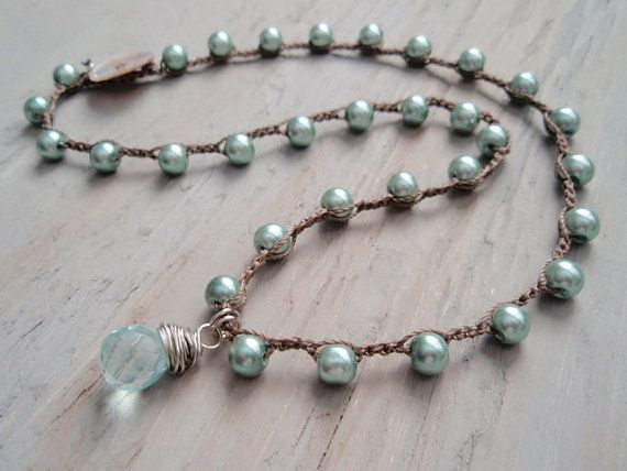 RESERVED for HELEN Boho crochet necklace Aqua Pearl by slashKnots