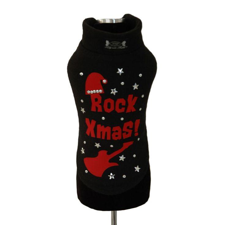 Rock Xmas Black - Jingle Bell Rock! Warm and soft #dog #pull decorated with crystals | Morbida e calda felpa di lana per cagnolini, decorata con brillanti