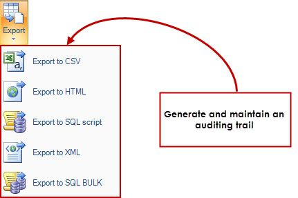 Multiple report and output formats - Display the transaction log information in HTML or export to CSV, XML or SQL