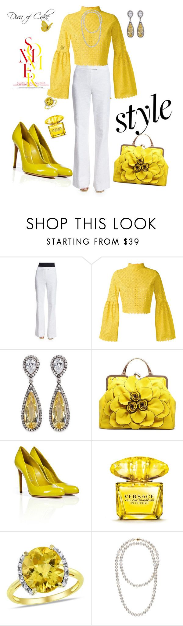 """""""Yellow and White"""" by Diva of Cake  on Polyvore featuring Diane Von Furstenberg, Daizy Shely, CZ by Kenneth Jay Lane, Casadei, Versace and Ice"""