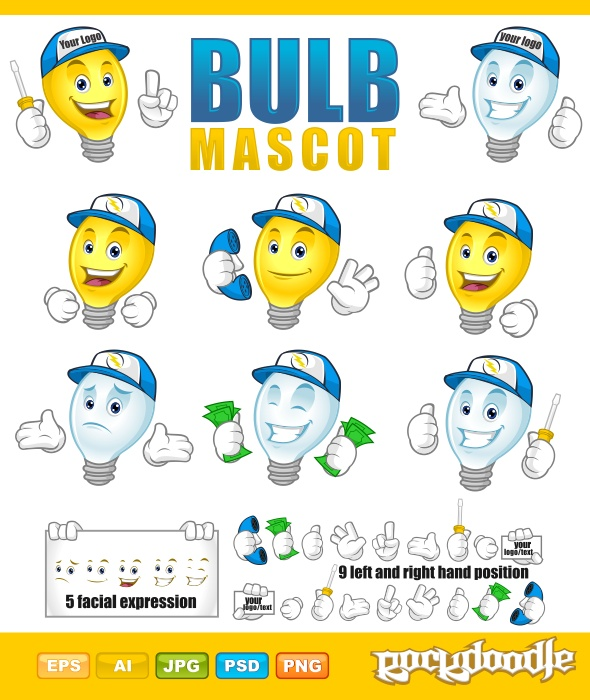 Have fun creating the bulb mascot! you could create more than a dozen of bulb mascot. everything is done in vector format and all items are properly named and layered for easy edit.