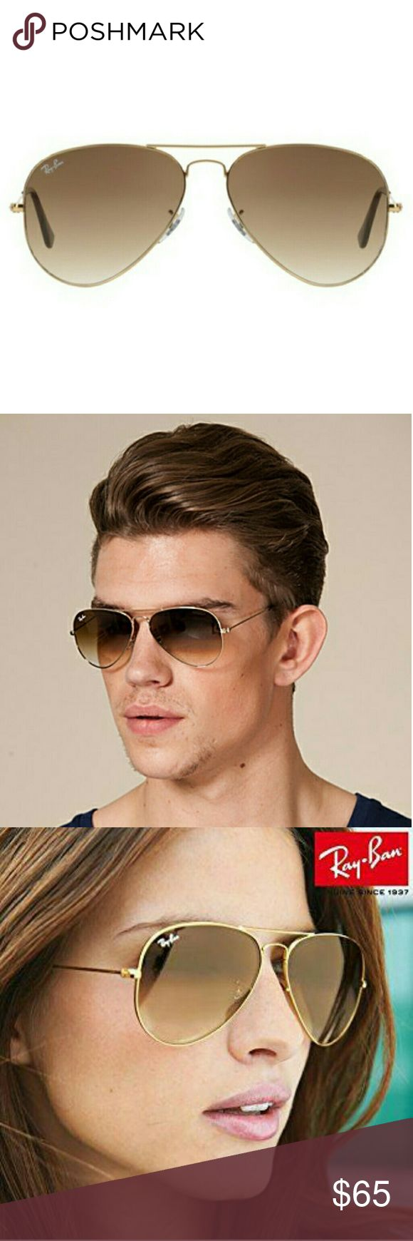 Mens sunglasses large head - Ray Ban Brown Gradient Sunglasses Gold Metal Frame Boutique