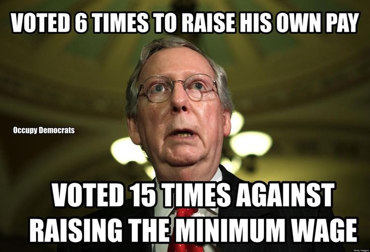 GOP Senator Mitch McConnell:  So, who do you think McConnell gets more political contributions from - multi billion dollar fast food corporations or, the workers at those fast food establishments who get paid minimum wage and are on food stamps? The face of hypocrisy that hard working Republicans, who's future keeps sinking continue to vote for... `cause those gays and undocumented immigrants are ruining this country... ugh.