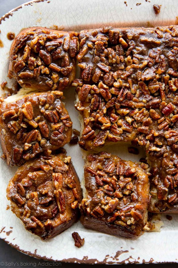 Breakfast and brunch have never been more indulgent and delicious than with these make-ahead maple pecan sticky buns! Recipe on sallysbaking...