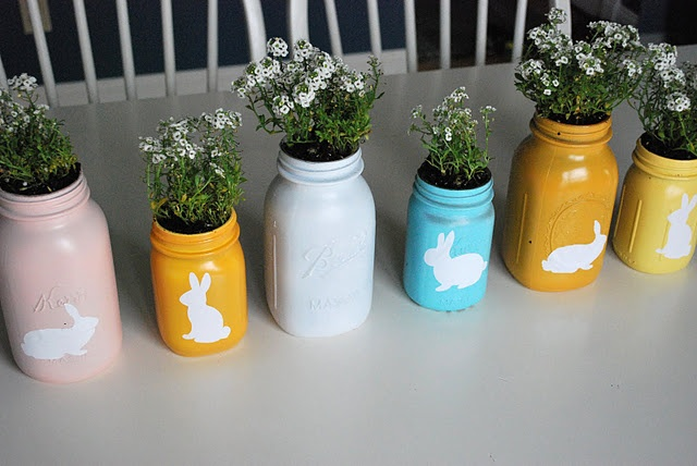 Mason jars are so versatile. How cute and easy are these? I'm thinking herb garden for the window sill.: Paintings Mason Jars, Projects, Idea, Jars Crafts, Easter Gifts, Planters, Easter Mason, Bunnies, Paintings Jars