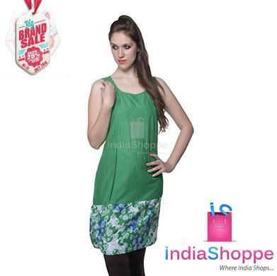 Revel in the classy look along with cozy & comfortable feel of soft cotton kurta from famous brand W which mirrors the new age Indian woman. Contemporary sleeveless kurta in green and prints in bottom half. http://goo.gl/oimuPh
