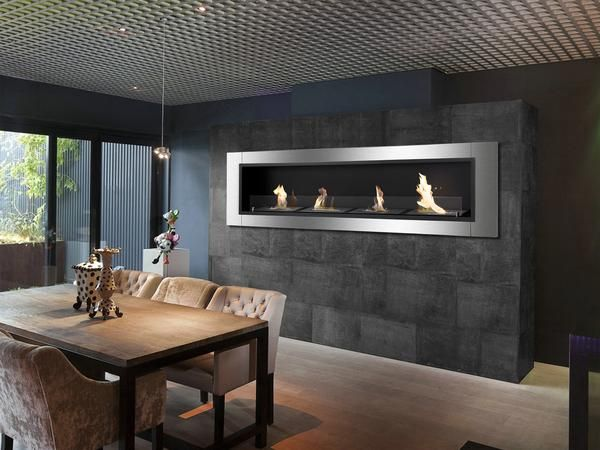 """67"""" x 19.75"""" Recessed/Wall Mounted Ethanol Fireplace, 4 Burners, Stainless Steel, 5-9 Hour Burn Time. Authorized Dealer. Free Shipping."""
