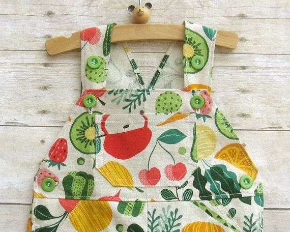 Special Edition! Limited Supply! New kawaii shortall collection features fabric from Japan.  Shortall in spring vegetables. Print features spring