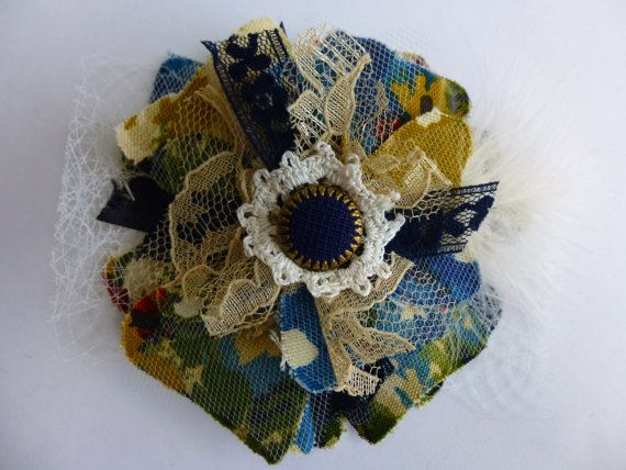 Glam Garb Fabric Flower Brooch Pin Floral Print Blue by glamgarb