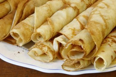 Hungarian savory palacsinta are paper-thin pancakes served rolled or folded into triangles with savory fillings like scrambled eggs and mushrooms, creamed meats, seafood and vegetables.  Palacsinta can be served as a main course, appetizer, brunch or luncheon dish.