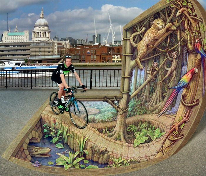 3D Street Art.........It took me a while to realize that this a wall and walkway.
