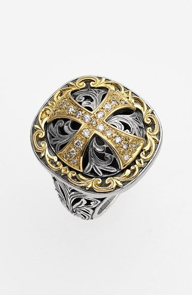Konstantino 'Diamond Classics' Diamond Cross Two-Tone Ring available at…