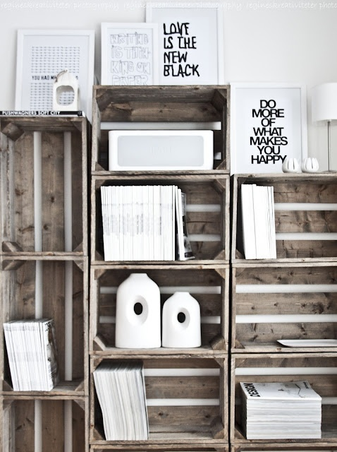 grey washed crates turned cubby unit