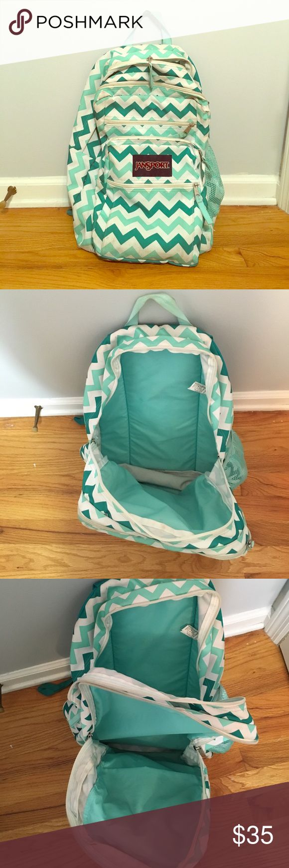 Chevron backpack This teal and white chevron backpack has 5 pockets and 2 of them can hold all the big books and binders you have to carry for class Jansport Bags Backpacks