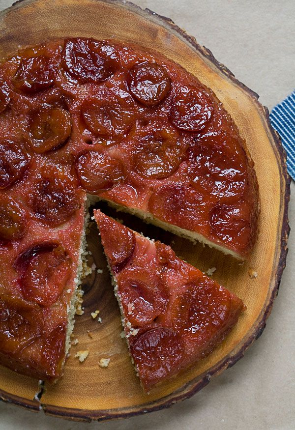 Sour Plum Brown Butter Upside Down Cake // A Cozy Kitchen