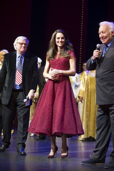 "Kate Middleton Photos Photos - Catherine, Duchess of Cambridge, Lord Michael grade and Michael linnit take part in a presentation during the Opening Night Royal Gala performance of ""42nd Street"" in aid of the East Anglia Children's Hospice at the Theatre Royal Drury Lane on April 4, 2017 in London, England. - The Duchess Of Cambridge Attends The Opening Night Of ""42nd Street"" In Aid Of The East Anglia Children's Hospice"
