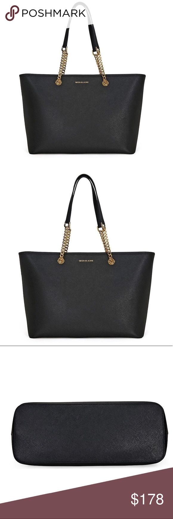 """Michael Kors Saffiano Jet Set Medium Tote Brand new with tags, Black. Gold link chain. Dimensions: 17"""" x 10.5"""" x 6"""". Perfect for your laptop. It has a pocket inside with a large zipper pouch. Retail $298 Michael Kors Bags Totes"""