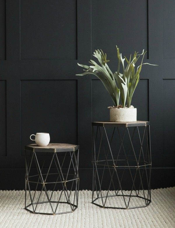 Set of Two Wood & Iron Side Tables