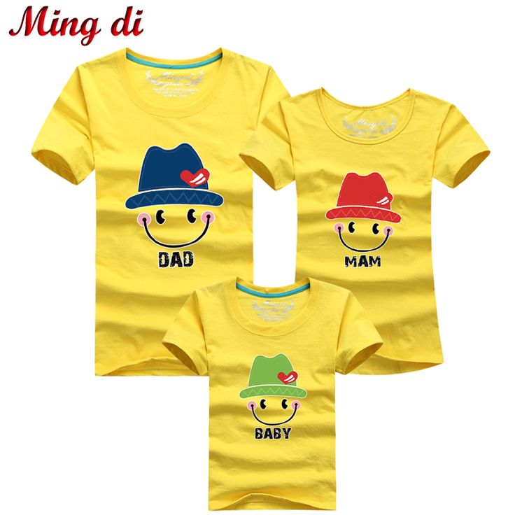 Ming Di New 2016 Family T shirts Quality Cotton Summer Smiling Face Style Matching Mother and Daughter Father and Son Clothes