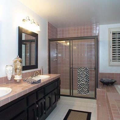 Black Cabinets To Glam Up A Pink Tiled Bathroom Moms Bathroom