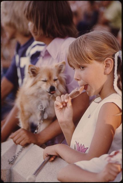 Youngster Unknowingly Has Shared Her Ice Cream Stick with the Dog as She Watches Judging During the Kiddies Parade in Johnson Park in New Ulm, Minnesota... by The U.S. National Archives, via Flickr