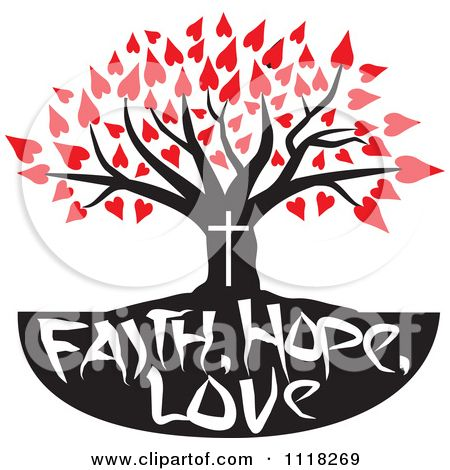 Free Christian Graphics | Cartoon Of A Christian Family Tree With Faith Hope Love Text And Red ...