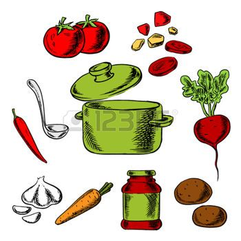 tomatensoep%3A+Recept+van+de+smakelijke+vegetarische+soep+met+kookpot+en+pollepel+omringd+door+wortel%2C+aardappel%2C+rode+biet%2C+tomaat%2C+knoflook+en+peper+groenten+en+kruiden+Stock+Illustratie