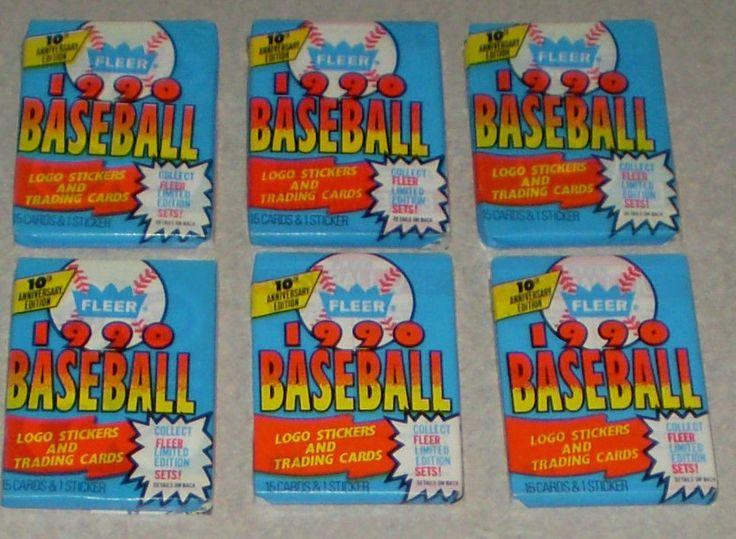 (6) 1990 Fleer Baseball Card Wax Packs Unopened