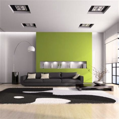20 Modern Living Room And Furniture Inspirations Cool Green Centered Accent With Black Midcentury Sofa And Egg Floor Lamp As Decorate White Open Plan