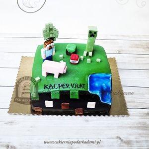 198BD Tort inspirowany grą Minecraft. Minecraft cake.